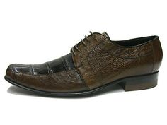 BROWN CROCODILE  & OSTRICH DRESS SHOES
