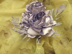 Lovely wedding bouquet of fabric flowers with lovely satin fabric roses and rose buds  OOAK. $48.00, via Etsy.