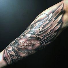 30 Dog Tag Tattoos For Men - Masculine Design Ideas Army Tattoos, Military Tattoos, Dog Tattoos, Cute Tattoos, Body Art Tattoos, Skull Tattoos, Flower Tattoos, Wing Tattoo Men, Forearm Tattoo Men