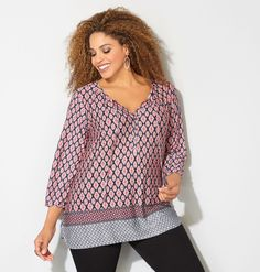 Shop worldly tops with interesting prints like our new plus size Border Medallion Peasant Top available in sizes 14-32 online at avenue.com. Avenue Store