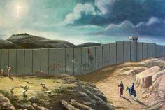 Cartão de Natal de Banksy mostra muro de Israel no caminho da Sagrada Família