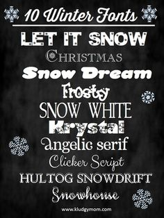 Winter Fonts | Snowy Fonts | Holiday Fonts  ~~ {10 FREE fonts w/ easy download links} @ kludgymom