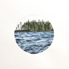 Circular lake drawing. Dots and aquarelles.