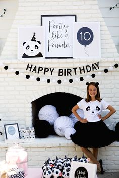 Partyscape with black and white elements from a chic Party Like a Panda Birthday Party at Kara's Party Ideas. See this monochromatic party and more at karaspartyideas.com!