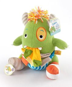 Loving this Green & Yellow Knit Socks & Calvin the Closet Monster Plush Toy on #zulily! #zulilyfinds