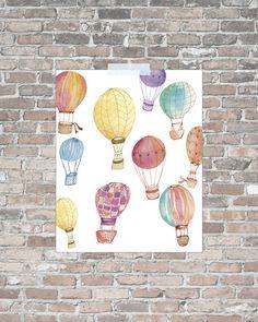 Hot Air Balloon Art hot air balloons print by pitterpatternursery, $10.00