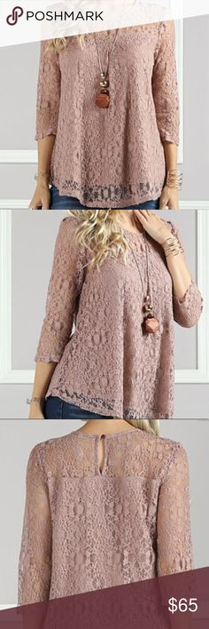 Lace Overlay Essentially Long Sleeve Tunic New Lace Overlay Essentially Long Sleeve Taupe Tunic New Tops Tunics
