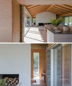Inside this modern house, the gabled ceiling creates a sense of openness, and the simple neutral color palette makes the interior feel relaxed and inviting. The kitchen, dining and living room all share the main space, with the double-sided fireplace being the focal point in the living room.