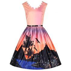 Daria  Rio Sunset Print Orange Swing Dress 14ae13f58