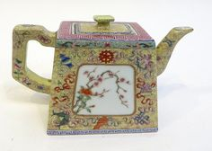 "Chinese 19th C. Tea Pot - 4"" in height in a trapezoidal form with lid, featuring highly intricate poly glaze decoration. Fine four character mark on the bottom."