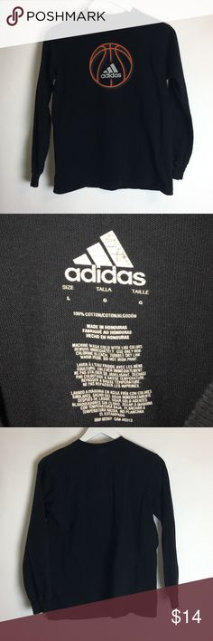 Adidas Long Sleeve Graphic Tee T Shirt Large Black Item name:  Long Sleeve Graphic Tee  		 Color: Black Condition: This is a pre-owned item. It is in excellent used condition with no stains, rips, holes, etc.  Comes from a smoke free household. Size: Men's Large Measurements:  Pit to Pit - 18 inches Neckline to bottom - 22 inches adidas Shirts Tees - Long Sleeve