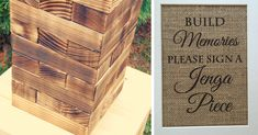 Are you a couple who loves the odd game of Scrabble or Monopoly? Why not add Jenga to the list and get a giant set to be signed like this one from Your Wedding Project.  Attract people to the stand with this pretty sign from Lace Burlap Shop and get each of your guests to sign one block with a message to both you and your partner. This will leave you with a big box full of signed blocks to enjoy the game with.