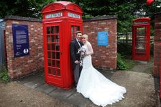 Wedding couple with red telephone box, National Telephone Kiosk Collection, Avoncroft Museum of Historic Buildings (avoncroft.org.uk). David j Perkins Photography