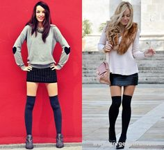 Thigh High Tights with Mini Skirts
