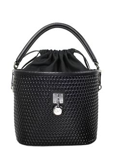 GOSHICO, Bucket Bag (with belt), black. To download high or low resolution photos view Mondrianista.com (editorial use only).