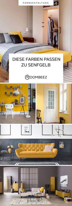 #living #interieur #gelb #senfgelb Wir zeigen dir, wie du Gelbtöne in dein Zuhause bringst und wie du sie kombinieren kannst. 💛 Mustard, Spicy, Home Decor, Glass Display Case, Carpet, Paint Palettes, Paint, Decorating Ideas, Architecture