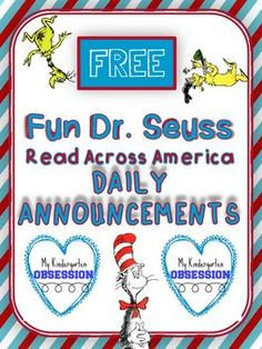 This freebie includes five AWESOME daily announcements to use over your school intercom system for each day of the week during Read Across America. We had the assistant principal do the rhyming and she later told me a student came up to her and told her she had some mad rhyming skills!