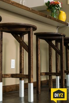 How to build bar stools for your home! Easy hand-made wooden bar stools for your kitchen, man cave, bar, or dining room! Learn more at https://www.youtube.com/watch?v=rkq_bYaYVFU | DIY Projects for the Home