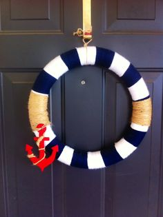 Red, blue and white anchor nautical door wreath by TheSassyDoor on Etsy
