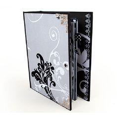 Álbum para fotos, decorado con espectaculares papeles en tonos grises y negros. Hecho a mano al estilo scrapbooking. Elegante y sofisticado.