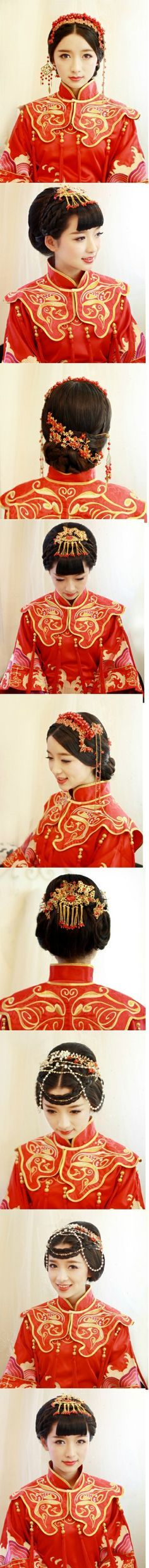 The seven and eighth ones are like what the Stars wear to formal events. [Chinese Wedding Hairstyle]