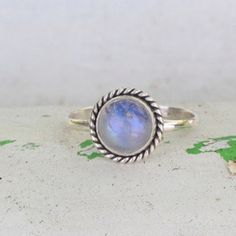 Simple Moonstone Rope Silver Ring