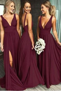 Deep V-neck Satin Chiffon Long Backless Maroon Bridesmaid Dresses with Split Bridesmaid Dresses Backless Bridesmaid Dress V-Neck Bridesmaid Dress Chiffon Bridesmaid Dress Bridesmaid Dress Maroon Bridesmaid Dresses 2018 Backless Bridesmaid Dress, Burgundy Bridesmaid Dresses Long, Bridesmaid Dresses 2018, Cheap Prom Dresses, Sexy Dresses, Wedding Dresses, Party Dresses, Elegant Dresses, Chiffon Dresses