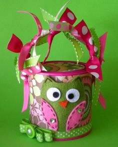 An Owl Inspired Paint Can Turned Into A Gift Container-Too Cute!!!!