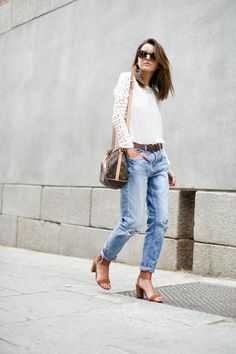 Casual jean with lovely tanned sandals for a well put together outfit