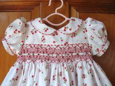 Baby girl, toddler hand smocked dress red cherries on white & red gingham trim Size 12Mo/1T. $45.00, via Etsy.