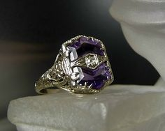 INE ANTIQUE ART DECO 18K SOLID WHITE GOLD AMETHYST DIAMOND FILIGREE RING BOX
