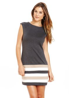 cap sleeve striped hem dress