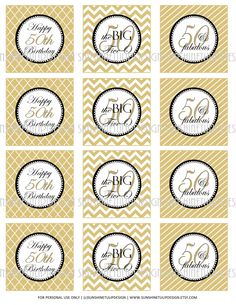 The Big 5-0 printable DIY 50th Birthday Cupcake Toppers, Sticker Labels in Gold stripes, Argyle and Chevron