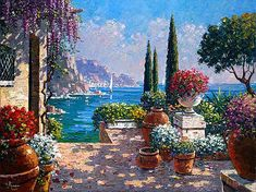 Garden Terrace in Amalfi - Oil Painting by Bob Pejman Mediterranean Art, Popular Paintings, Lake Como, Painting Inspiration, New Art, Landscape Paintings, Watercolor Paintings, Cool Art, Scenery
