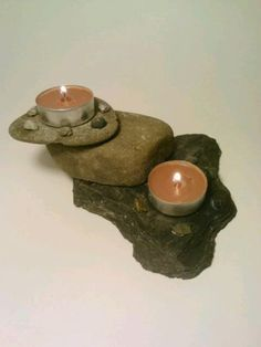 Tea Light Candle Holder Slate Rock Candle by DeerwoodCreekGifts, $25.00