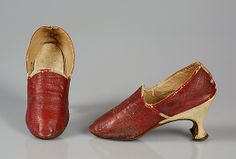 Slippers  Date: 1770–89 Culture: European Medium: Leather Credit Line: Brooklyn Museum Costume Collection at The Metropolitan Museum of Art, Gift of the Brooklyn Museum, 2009; Gift of Herman Delman, 1954 Accession Number: 2009.300.4750a, b