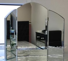 Bevelled Tri Fold Dressing Table Mirror 2013S (Silver Backing) 2013B (Black  Backing)
