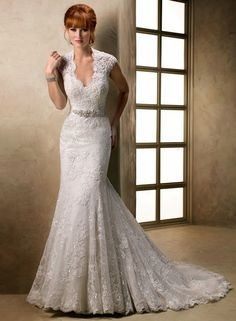 Lace Cap Sleeve Wedding Dress Make Your Style Look Glamorous : Mermaid Wedding Dresses, Cap Sleeve Mermaid Wedding Dresses