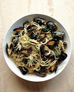 Spaghetti with Mussels, Lemon, and Shallots - Martha Stewart Recipes...mussels for hubs none for me
