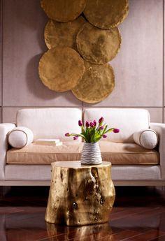 Phillips Collection Log Log Stool Log Furniture, Furniture Design, Accent Furniture, Log Side Table, Log Stools, Gold Stool, Stump Table, Phillips Collection, Black And White Wallpaper