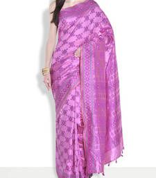 Buy Light purple hand_woven handloom saree with blouse handloom-saree online