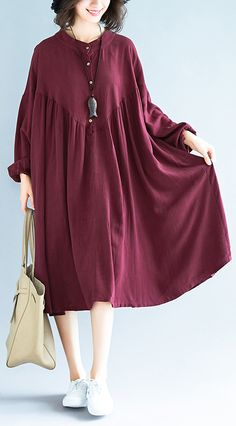 Organic burgundy linen clothes For Women Fashion Ideas stand collar exra large h… – Linen Dresses For Women Birthday Outfit For Women, Casual Dresses For Women, Clothes For Women, Mode Abaya, Short Beach Dresses, Bohemian Mode, Linen Dresses, Maxi Dresses, Dress Outfits