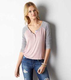 AEO Soft & Sexy Henley T-Shirt