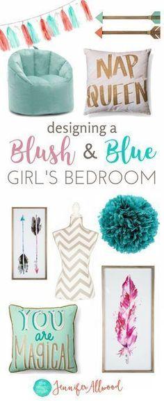 How to design a tween girls bedroom | Blush & Blue Girls Bedroom by Jennifer Allwood - Girls Bedroom Decorating Ideas (1) #kidsbedroomfurniture