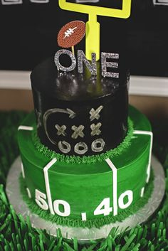 This is one serious football cake for a one year old!