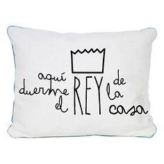 Really Nice Things - Cojín Aquí Duerme Rey blanco y negro  50 x 5 x 35 cm