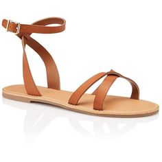 LYDIA CROSS OVER SANDAL (930 ARS) ❤ liked on Polyvore featuring shoes, sandals, synthetic leather shoes, rubber sole sandals, summer flat shoes, vegan shoes and summer footwear