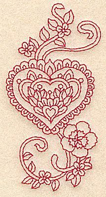 Embellishments Embroidery Design: Fancy Heart Redwork from Adorable Ideas