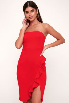 Wondering where to buy homecoming dresses that look amazing and don't break the bank? Score cute homecoming dresses with Lulus! Holiday Party Outfit, Holiday Party Dresses, Girls Party Dress, Holiday Outfits, Dress Girl, Holiday Parties, Crimson Dress, Bachelorette Outfits, Little Red Dress