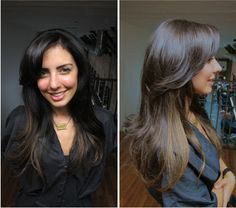 Hair; long, sexy blowout on brown ombre extensions. From my DIY blowdry blog post